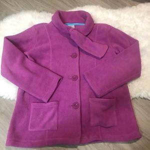 Hanna Andersson Purple Fleece Button Girls Jacket
